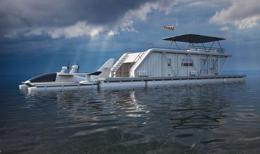 Три в одном: плавучий дом, пристань для лодок и парковка для гидроплана картинки